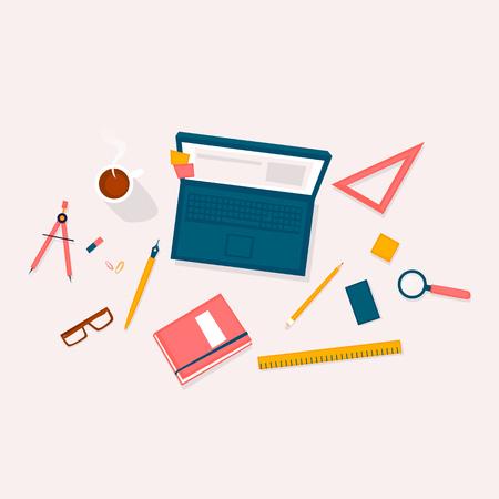 Designer workplace top view. Flat design vector illustration
