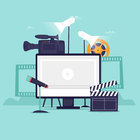 Registrazione video. Illustrazione vettoriale di design piatto Vettoriali
