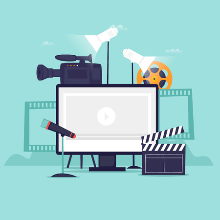 Video recording. Flat design vector illustration