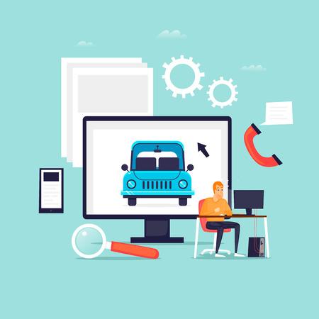 Tweedehands auto's online zoeken. Platte ontwerp vectorillustratie Stock Illustratie