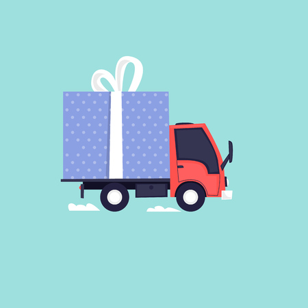 Truck carries a gift. Flat design vector illustration