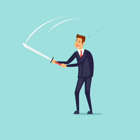 Fighting, competition, businessman with a sword. Flat design vector illustration.