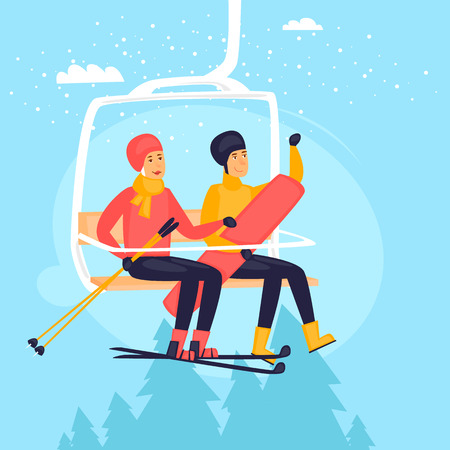 Guy and a girl on a ski lift, skiing and snowboard, winter landscape. Flat design vector illustration.