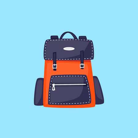 Rucksack, Reise, Schule. Flache Designvektorillustration. Vektorgrafik