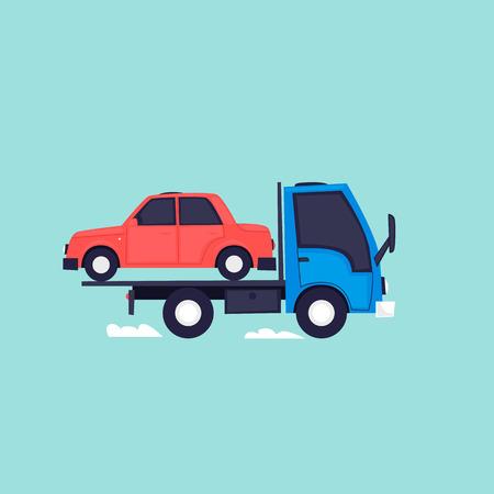 Vacuateur, voiture de conduite. Illustration vectorielle design plat. Banque d'images - 90992804