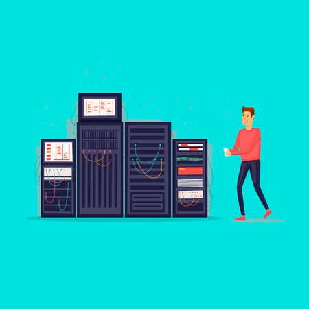 Service server. Flat design vector illustration. Illustration