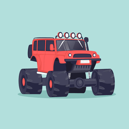 Big jeep. Flat design vector illustration. Illustration