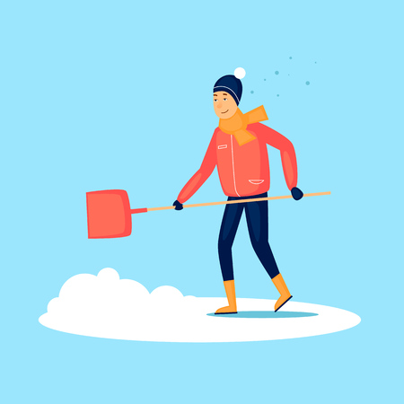 Guy cleans snow, winter. Flat design vector illustration. Vettoriali