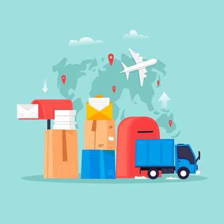 Servicio de correo, envío de cartas. Ilustración de vector de diseño plano.