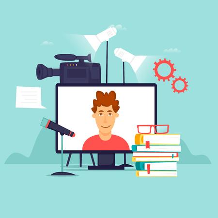Online courses, education, internet. Flat design vector illustration.