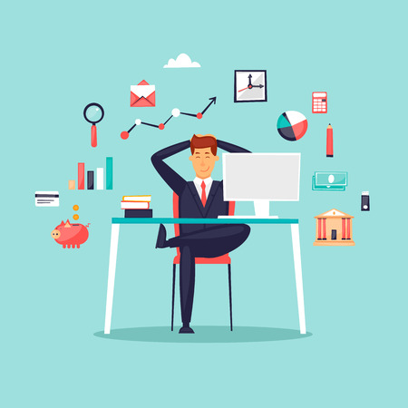 Happy businessman sitting at computer, icon set. Flat design vector illustration.