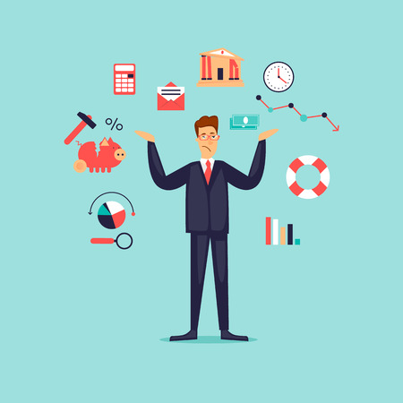 Ð¡risis, frustrated businessman. Flat design vector illustration.