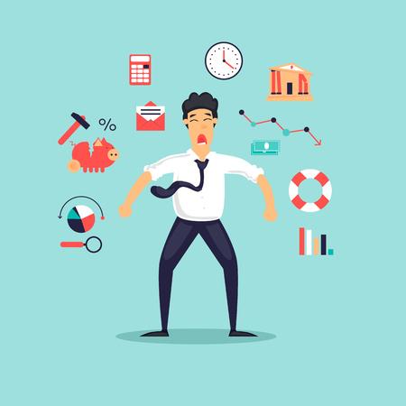 Ð¡risis, frustrated businessman. Flat design vector illustration.