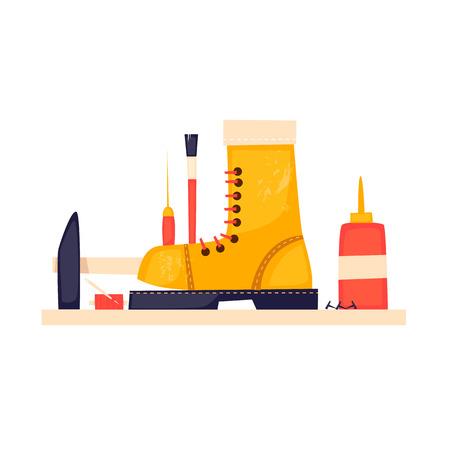 Shoe repair. Flat design vector illustration.