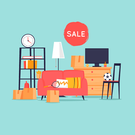 Garage sale, unnecessary things. Flat design vector illustration.