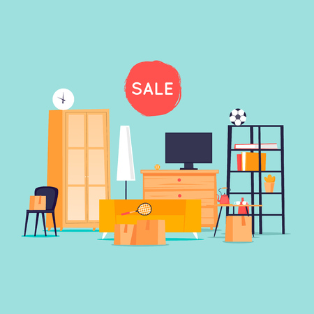 Garage sale, unnecessary things. Flat design vector illustration. Stock Vector - 91415047