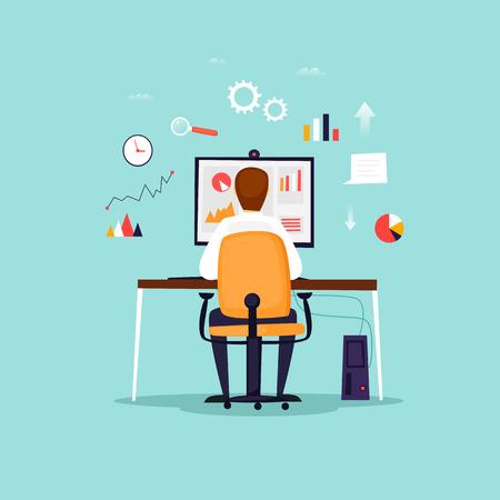 Analyse de données, homme d'affaires travaillant à l'ordinateur, bureau, lieu de travail. Illustration vectorielle design plat Vecteurs