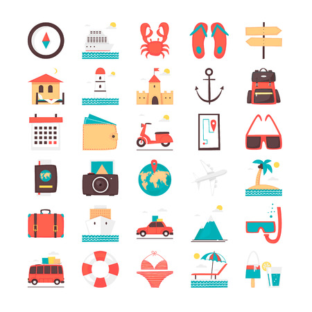 Icon set. Time to travel, vacation, adventure, things to journey. Flat design vector illustration.