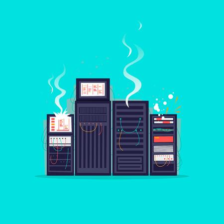 Broken server. Flat design vector illustration.