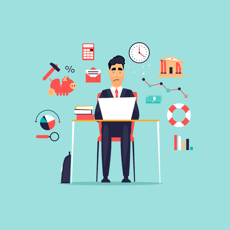 Crisis, frustrated businessman working at computer, icon set. Flat design vector illustration. Illustration