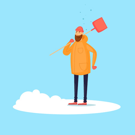 Man cleans the snow. Winter. Flat design vector illustration. Иллюстрация