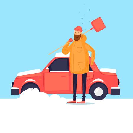 남자는 눈 자동차에서 청소합니다. 겨울. 평면 디자인 벡터 일러스트 레이 션.