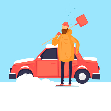 Man cleans from the snow car. Winter. Flat design vector illustration.