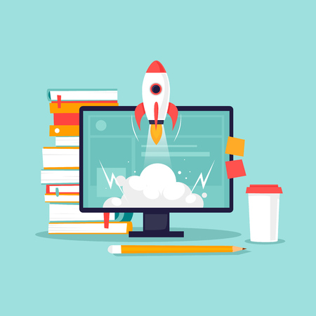 Start-up, computer, books, rocket. Flat design vector illustration. 일러스트