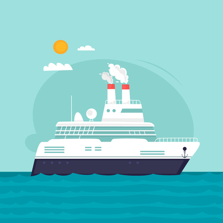 Liner, cruise, travel by sea. Flat design vector illustration.