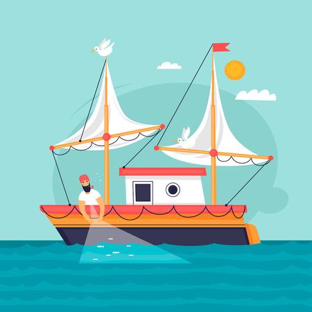 Fisherman pulls fishing net. Commercial fishing vessel. Flat design vector illustration.  イラスト・ベクター素材