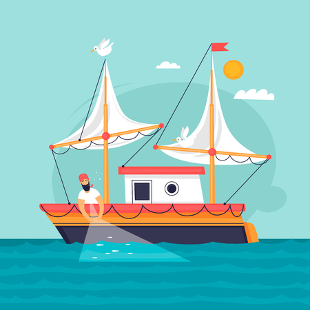 Fisherman pulls fishing net. Commercial fishing vessel. Flat design vector illustration. Stock Illustratie