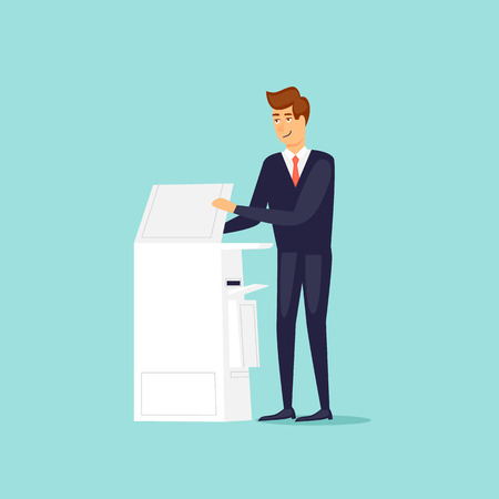 Man with a printer scanner. Flat design vector illustration.