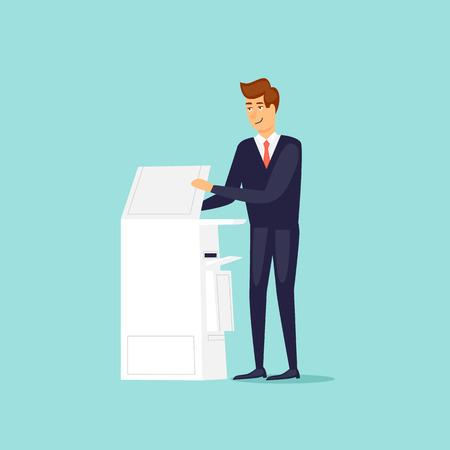 Man with a printer scanner. Flat design vector illustration.