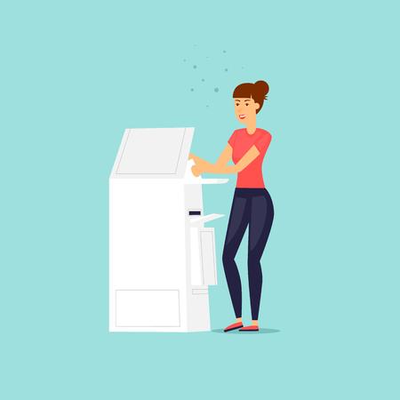 Fille avec un scanner d'imprimante. Illustration vectorielle design plat