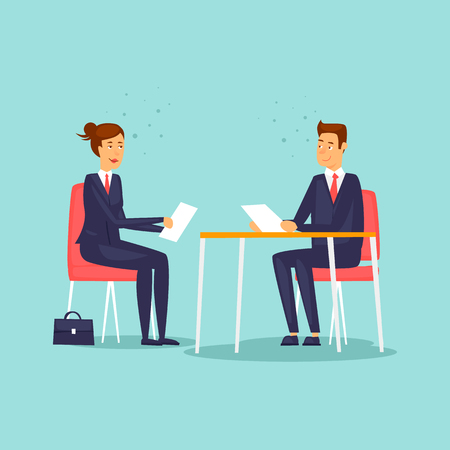 Interview for a new job. Flat design vector illustration.