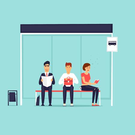 Ludzie siedzący na przystanku autobusowym. Ilustracja wektorowa Płaska konstrukcja. Ilustracje wektorowe
