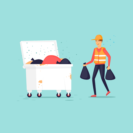 Garbage man throws garbage into the trash can. Flat design vector illustration.