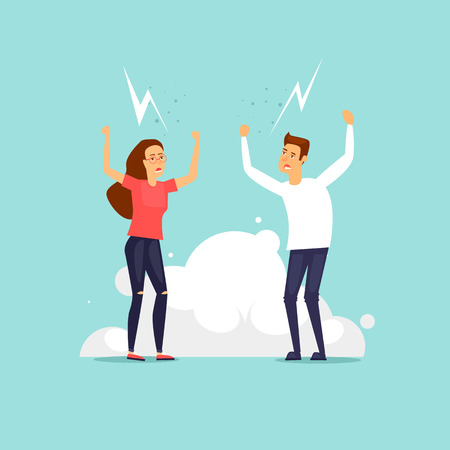 Man and woman are arguing. Flat design vector illustration.