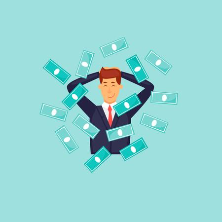 Happy businessman about money. Flat design vector illustration.