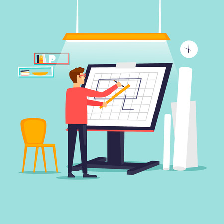 Engineer architect working at drawing board. Flat design vector illustration. Vettoriali