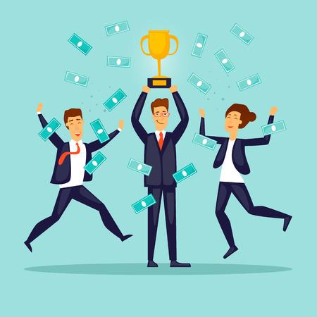 Business victory. Joyful businessmen. Flat design vector illustration.