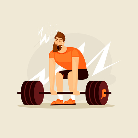 Man lifts the barbell. Fitness. Flat design vector illustration.