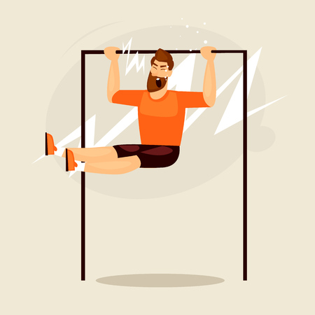 Man pulled on the bar sports. Fitness. Flat design vector illustration.