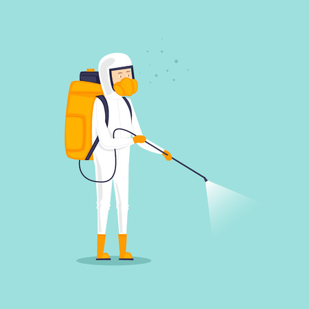Chemical treatment insects. Man in uniform with face mask spray pesticides. Flat design vector illustration.