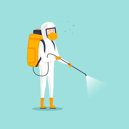Insetos de tratamento químico. Homem de uniforme com pesticidas de spray de máscara facial. Ilustração em vetor design plano.