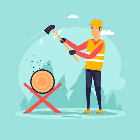 Lumberjack with an ax. Flat design vector illustration. Illustration