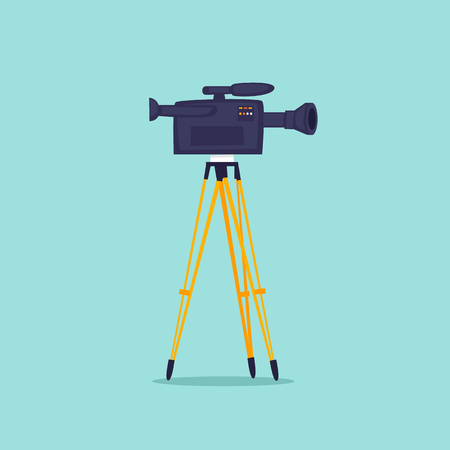 Video shooting, camera on a tripod. Flat design vector illustration.