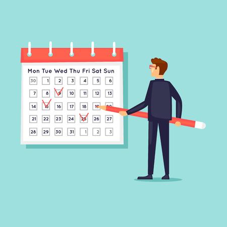 Calendar, businessman notes the date. Flat design vector illustration.