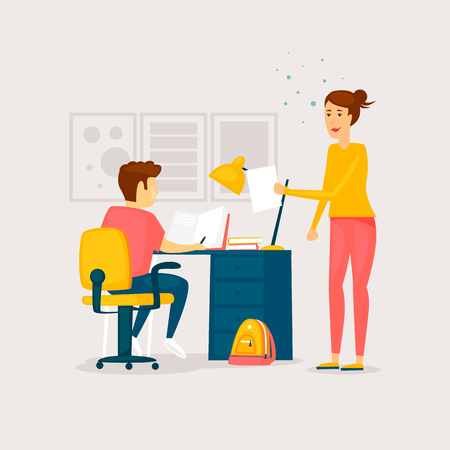 Mom helps with homework. Flat design vector illustration.