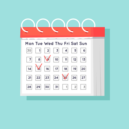 Calendar. Flat design vector illustration.